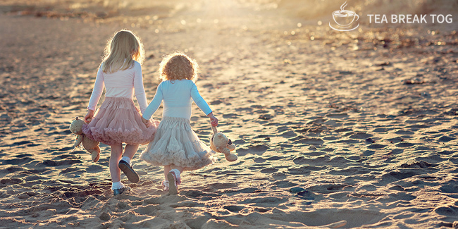 Two young girls holding hands and carrying teddy bears walking away on the sand while the sun sets. They are both wearing tutu's, one is pink and the other light blue.
